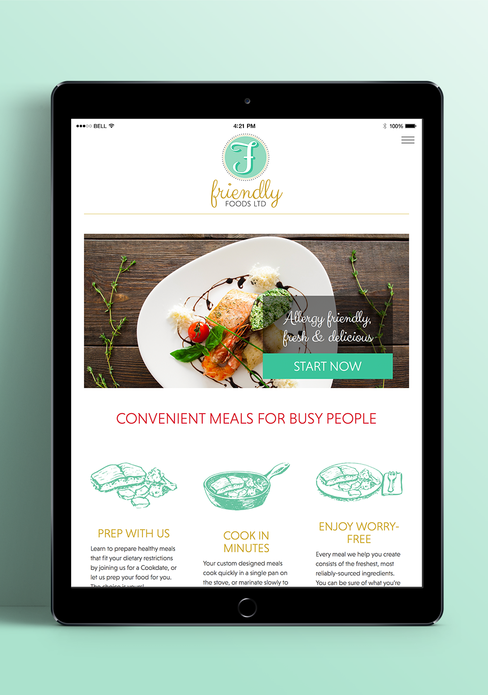 Friendly Foods Branding, Design, and Custom Wordpress Development